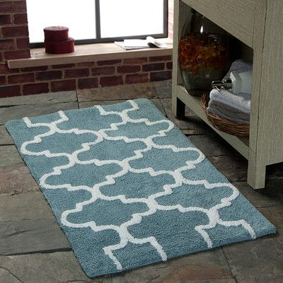 Long Stripes Blue And Brown Reversible Bathroom Rug With Images