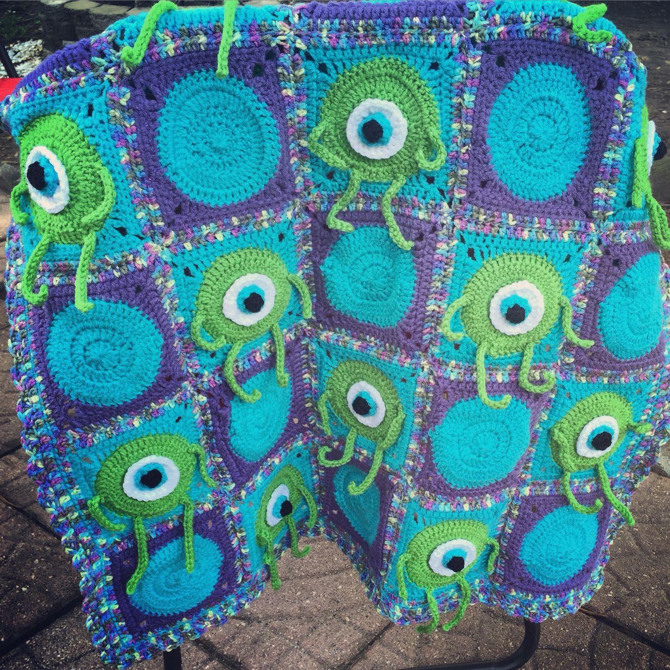 Monsters Inc Mike Wazowski Blanket Handmade By Creekwood Crochet