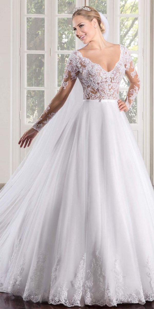Marvelous Tulle V-neck Neckline See-through Bodice A-line Wedding ...