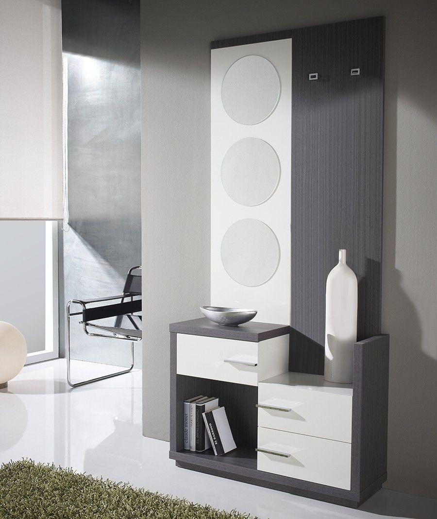 Meuble D Entree Moderne Miroirs Donatella Blanc Et Gris Cendre Ic Mekanlar Hol