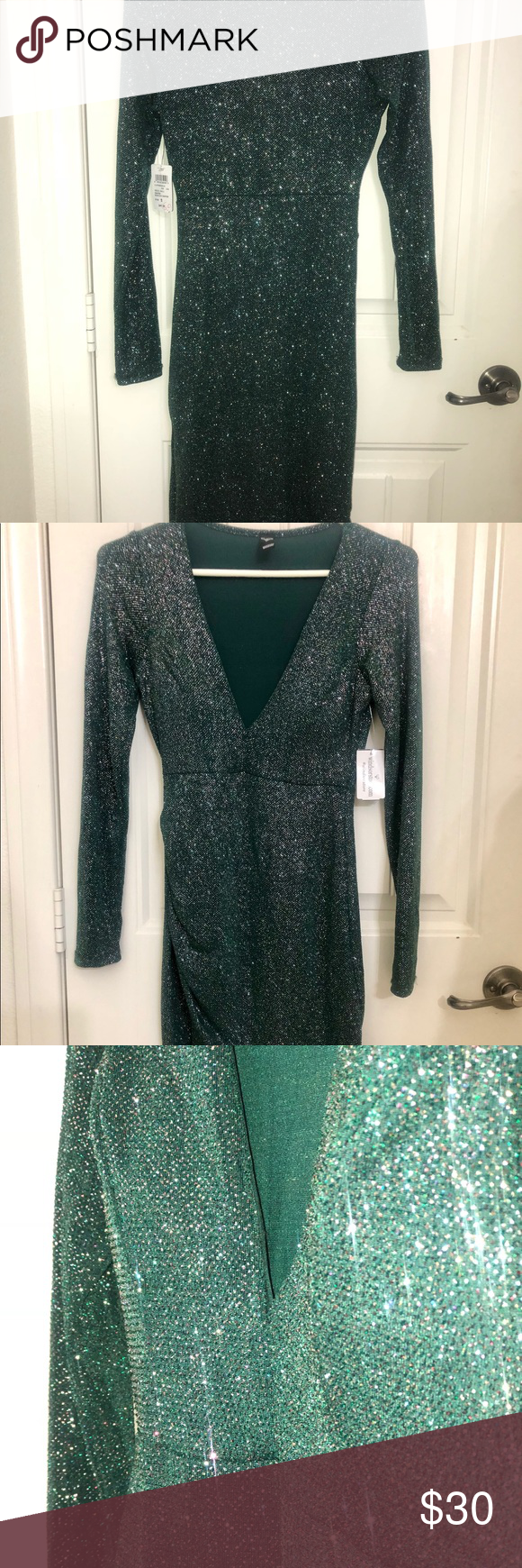 Emerald Green Windsor Glitter Long Sleeve Dress Long Sleeve Dress Fitted Bodycon Dress Bodycon Dress [ 1740 x 580 Pixel ]