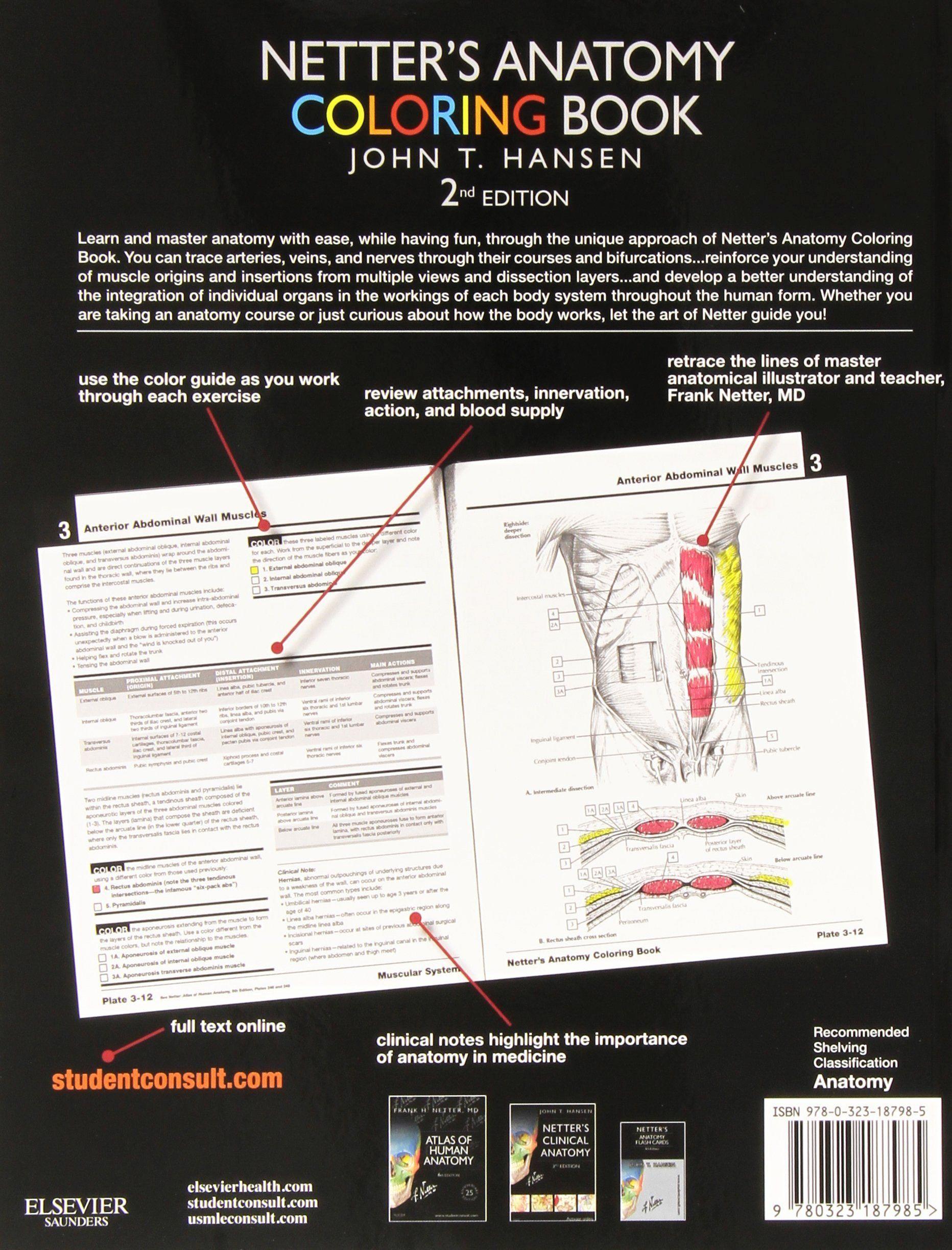 Netter 039 S Anatomy Coloring Book Beautiful Netter S Anatomy Coloring Book With Student Consult Acc Anatomy Coloring Book Stress Coloring Book Coloring Books