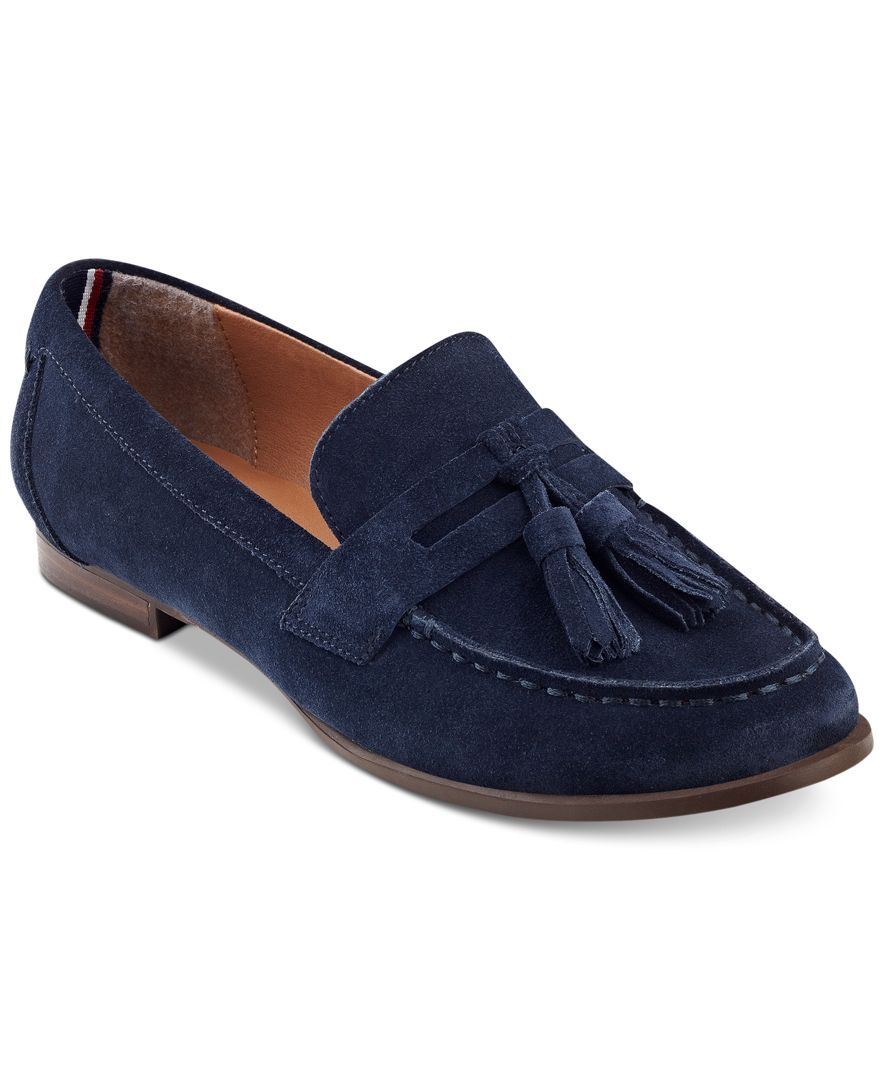 5b5f9729aa552 Tommy Hilfiger Sonya Tassel Loafers Navy Loafers