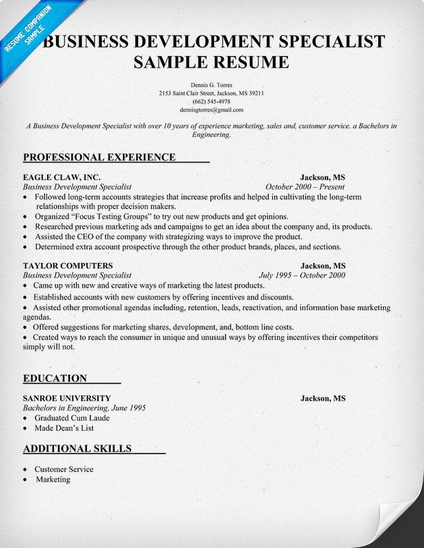 Business Development Specialist Resume Sample Resume Samples - developer support engineer sample resume