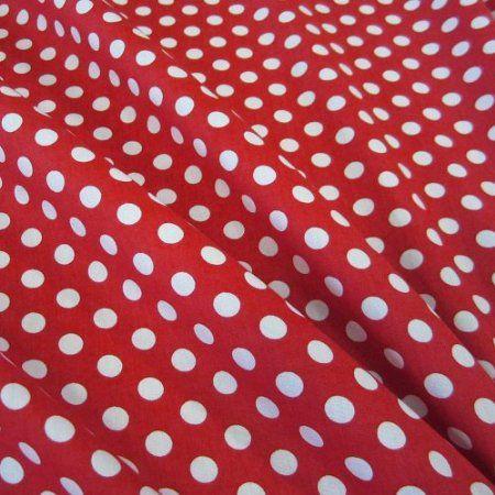 Stoff Küche | Stoff Baumwollstoff Baumwolle Popeline Punkte Gepunktet Tupfen Rot