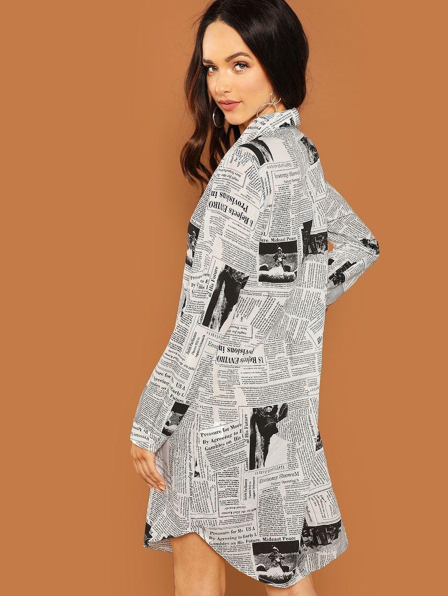 37fdfbe8ea Shein Newspaper Print Shirt Dress in 2019 | SHE IN WISH LIST ...