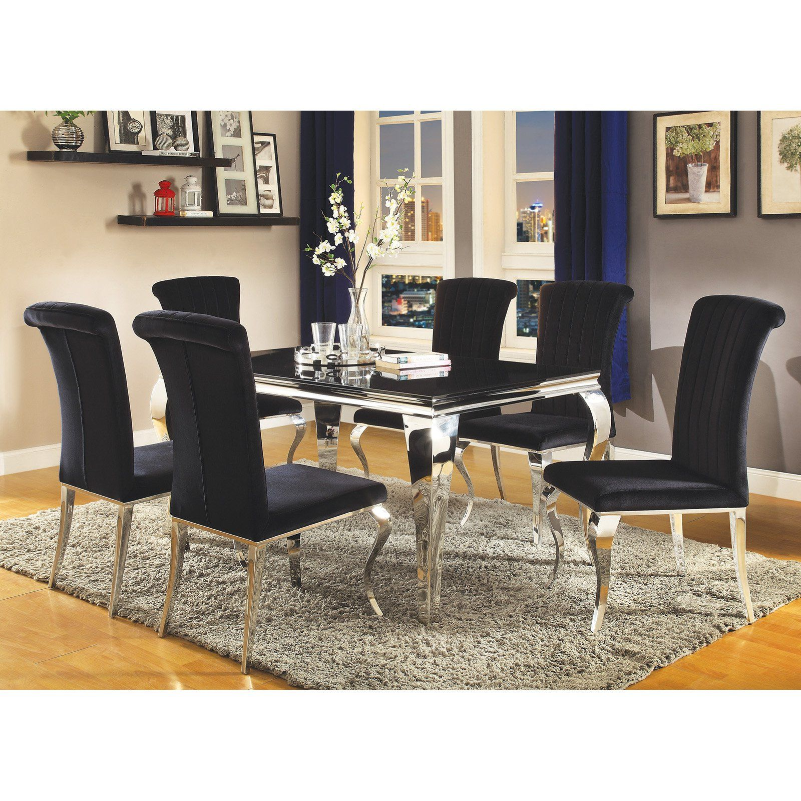 Coaster Furniture Carone Dining Table Dining Table Black Metal
