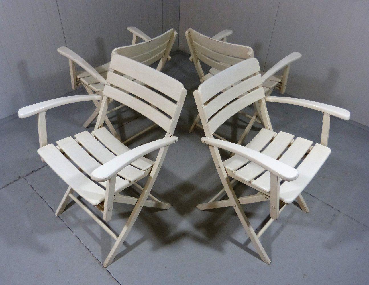 For sale: Set of 4 comfortable wooden folding garden ...