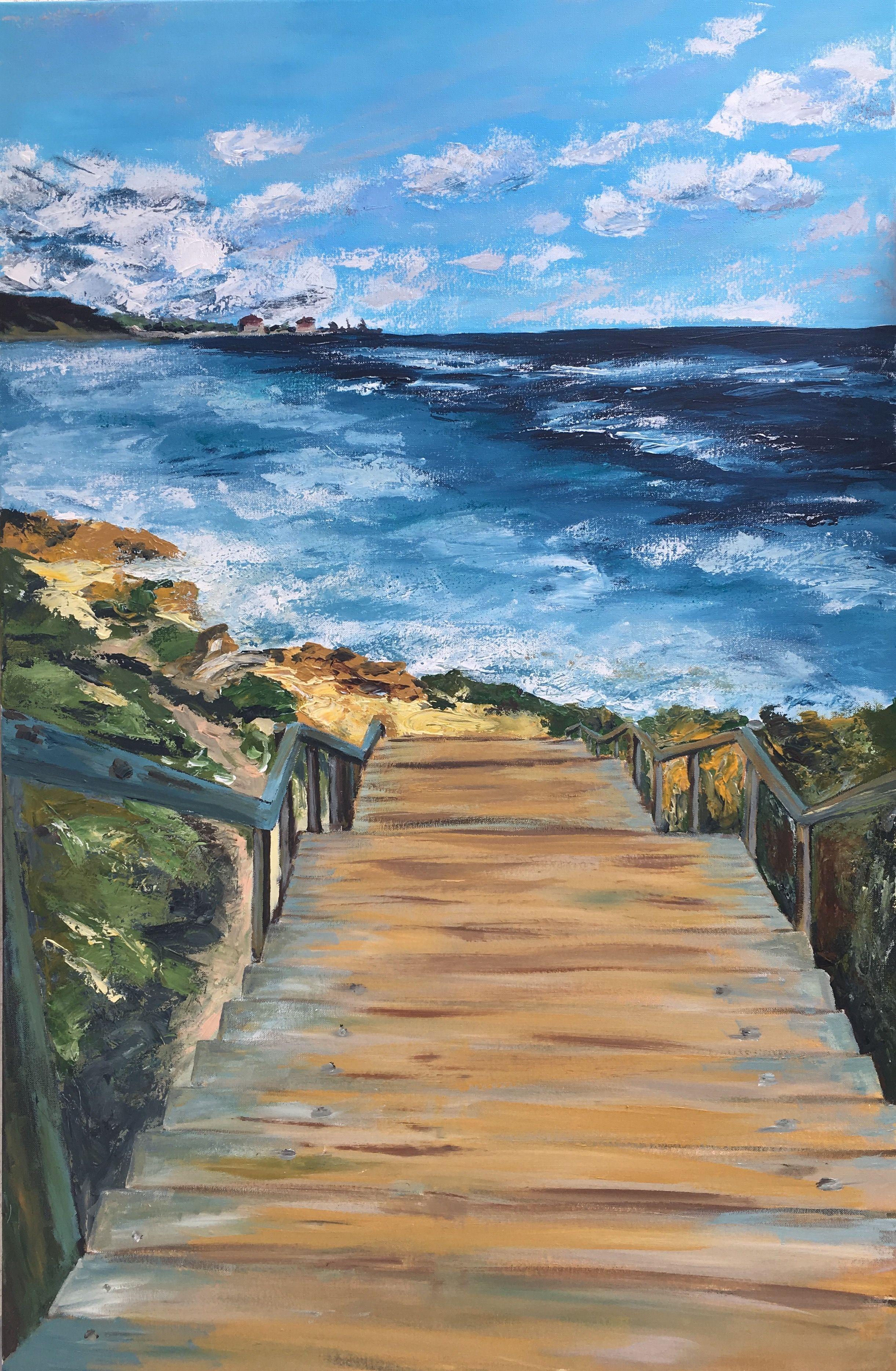Stairway to sea. Acrylic canvas painting