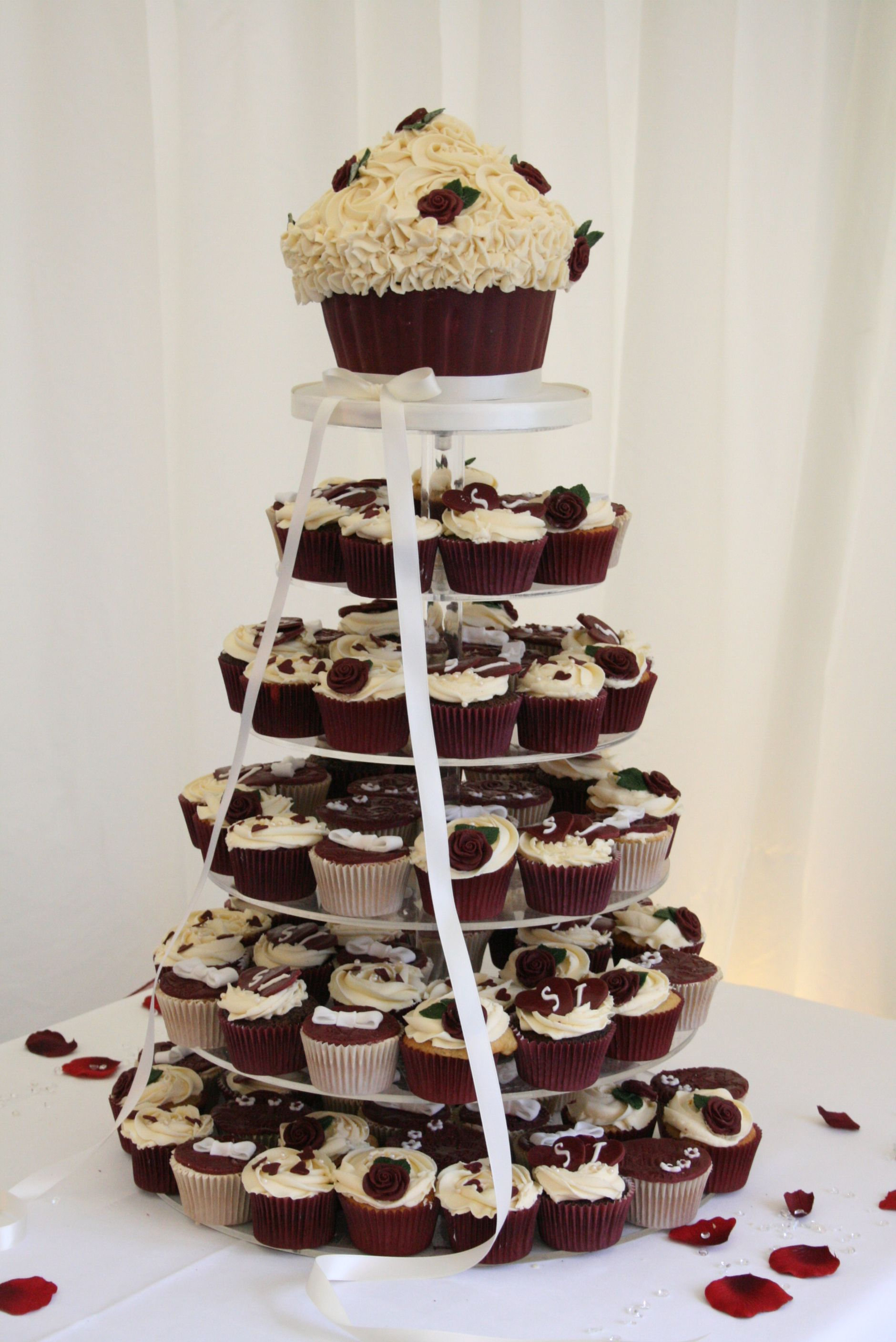 Halloween wedding cakes with cupcakes on tiers