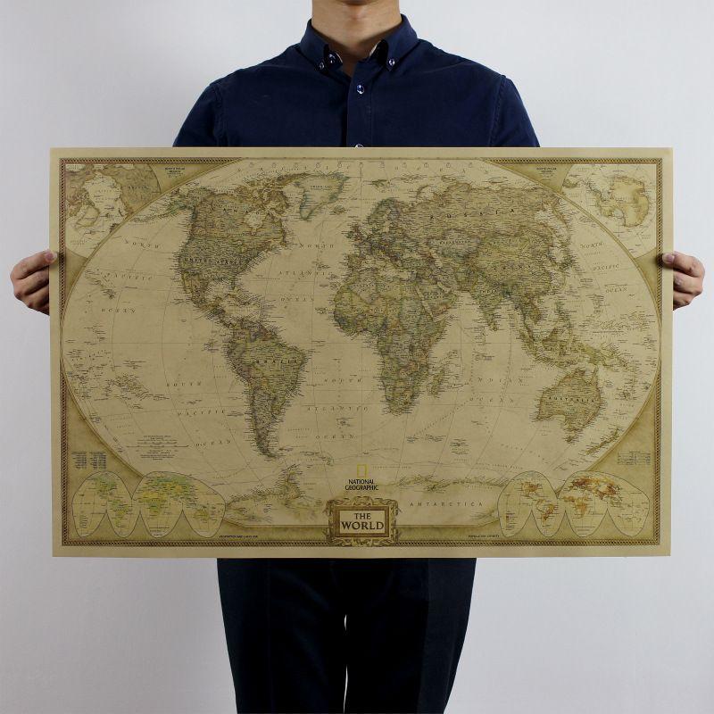 Vintage world map poster pared decoracin del hogar antiguo vintage world map poster pared decoracin del hogar antiguo detallada carta de papel retro papel kraft gumiabroncs Choice Image