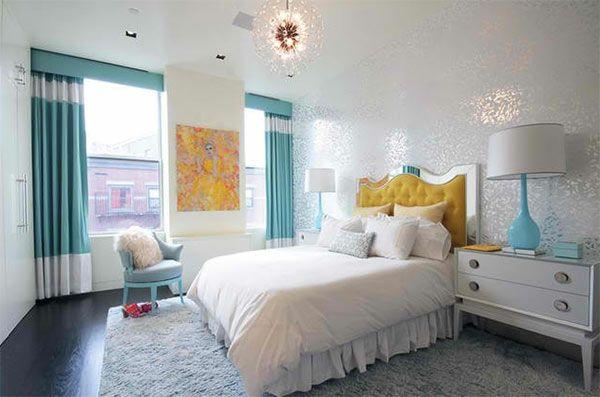 jugendzimmer mädchen großes-fenster blaue gardinen bedroom