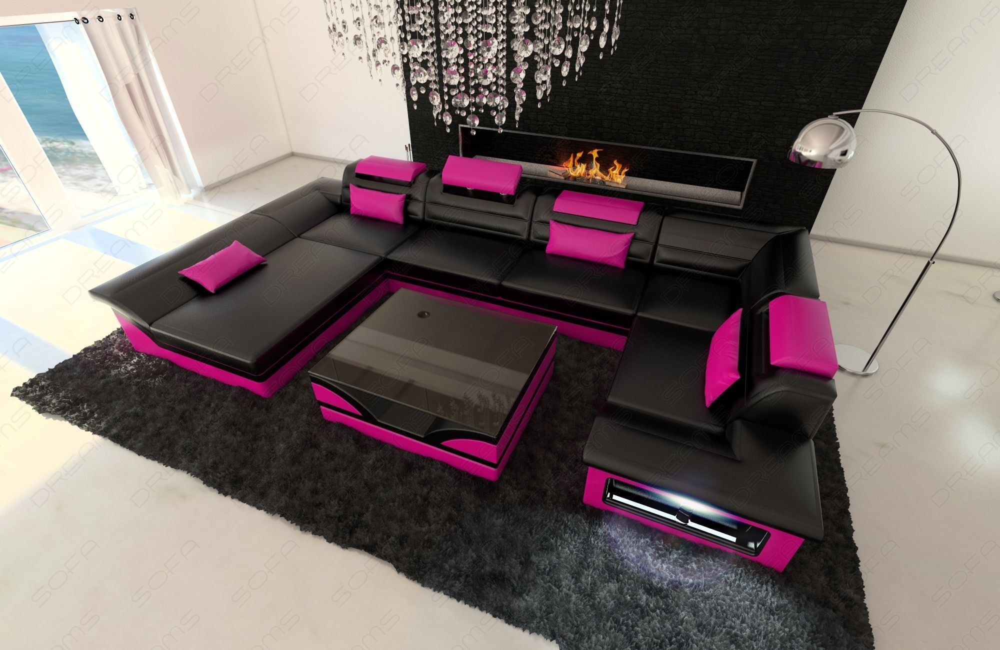 Big Leather Sofa Atlanta with LED Lights in 2019 | Tickle Me PINK ...