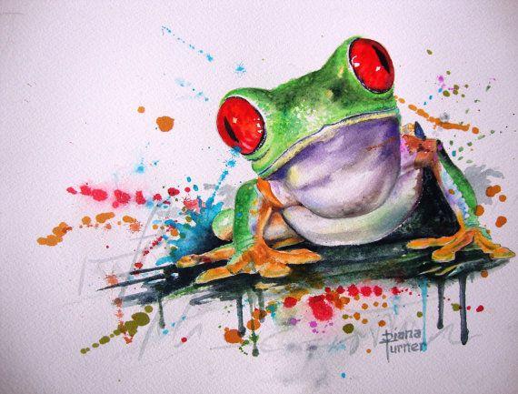 Ähnliche Artikel wie Frosch Art Print Aquarell Malerei Original Limited Edition Giclée-Druck von meiner ursprünglichen Aquarellmalerei. Freunde 8 x 10 auf Etsy