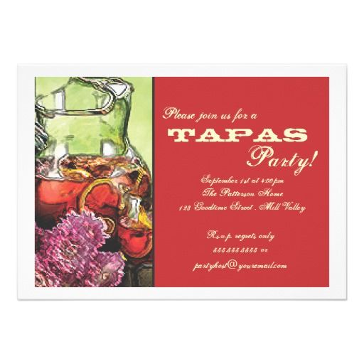 tapas party invitation idea Spanish Get-together Pinterest - invitation for a get together