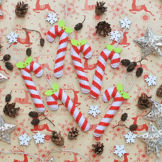 Candy Cane Christmas Decorations Felt Candy Cane Christmas Ornament  Christmas Tree Decor  Set Of