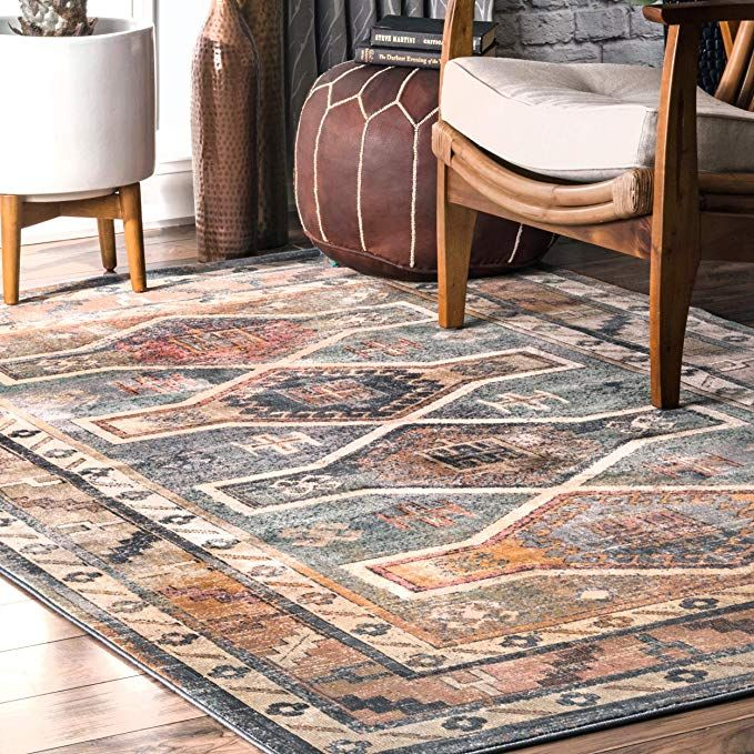 Amazon Com Nuloom Owmc02a Tribal Aiyana Area Rug 9 X 12 Blue Kitchen Dining Brown Area Rugs Area Rugs Brown And Blue Living Room