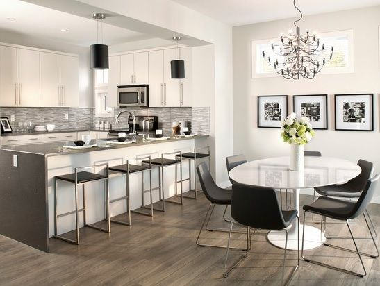 Kitchen And Dining Room With Grey Laminate Floor Small Apartment Kitchen Top Kitchen Designs Modern Kitchen Design