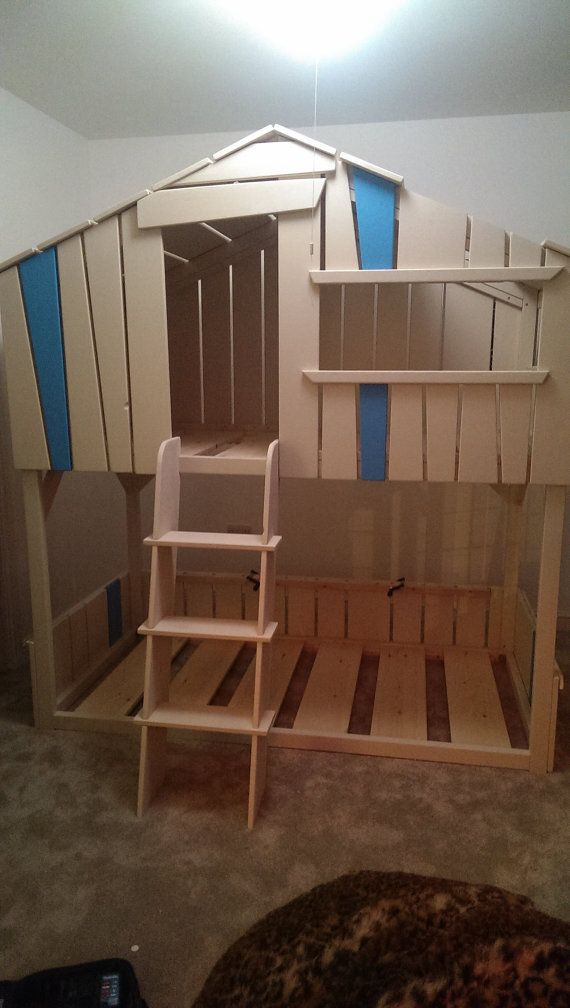Tree house play house bunk bed hand made childrens by for Treehouse toddler bed