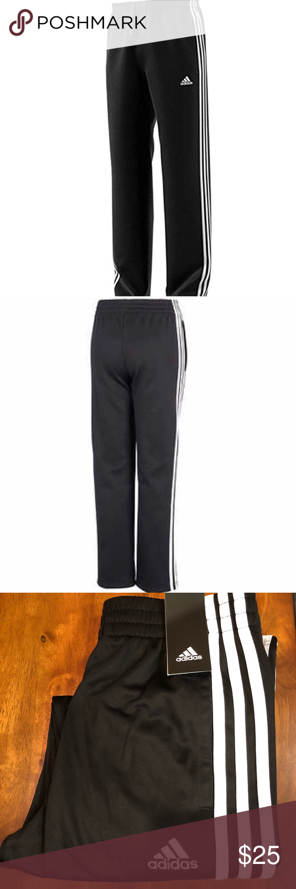 Adidas Classic Youth Med. Black & White Tech Pant NWT