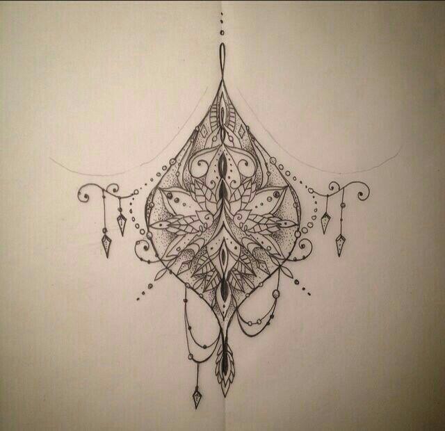 Henna Tattoo Designs Under Breast: Boho Tattoos, Sternum Tattoo, Tattoos