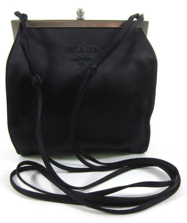 Prada Black Silk And Leather Evening Shoulder Bag h63iyf