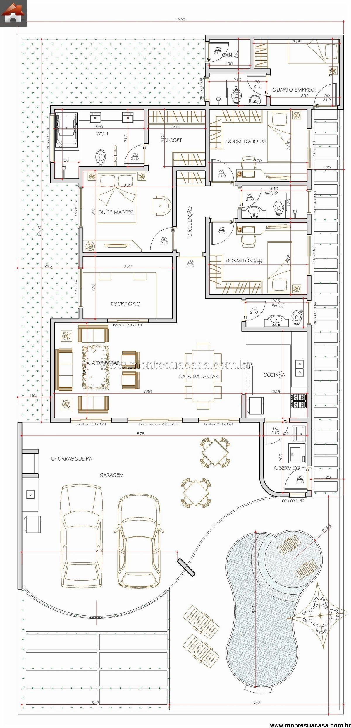 Pin de claudiaglam en p l a n o s pinterest casas for Distribucion de casas modernas de una planta