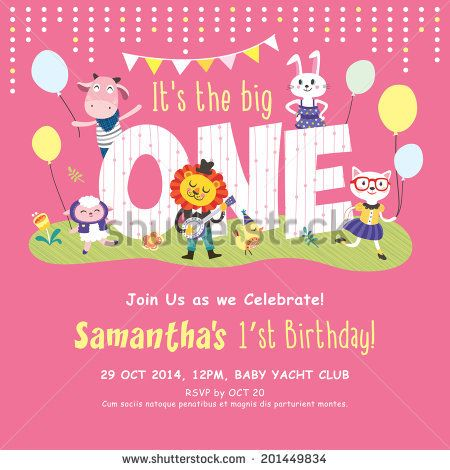 1st Birthday Party Invitation Card First Birthday Pinterest - invitation card for ist birthday