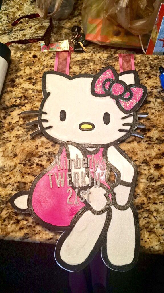 21st Birthday Sign I made for my sorority sister! #hellokitty #twerk #21 #21stbirthdaysigns 21st Birthday Sign I made for my sorority sister! #hellokitty #twerk #21 #21stbirthdaysigns