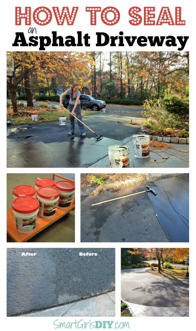 How to seal an asphalt driveway yourself its not hard at all how to seal an asphalt driveway yourself its not hard at all smart girls diy projects pinterest asphalt driveway driveways and driveway repair solutioingenieria Choice Image