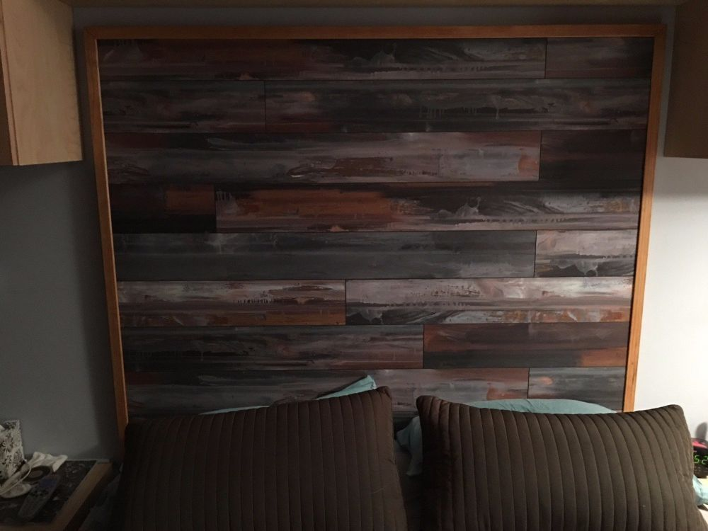 bed room headboard made with laminate flooring