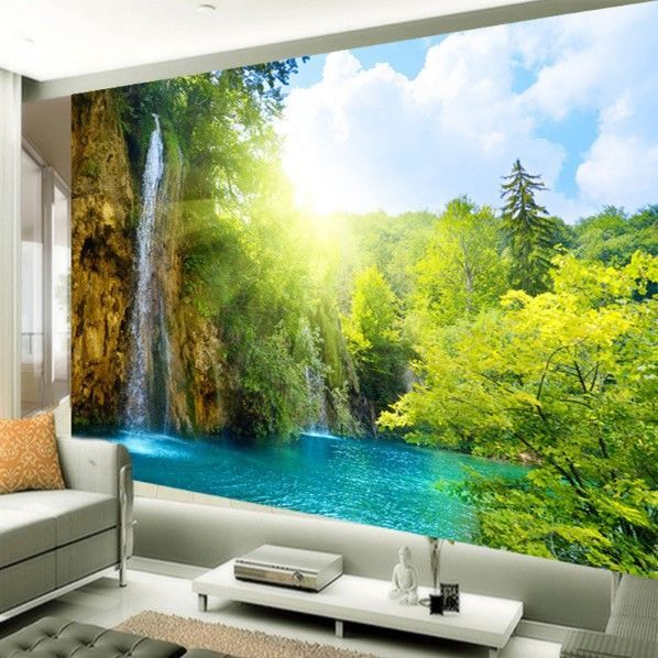 3d Lake High Waterfall Scene Wallpaper Custom Landscape Mural Mural Wallpaper Bedroom Murals Landscape Wallpaper