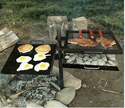 Campfire Grill Camping Gear Cooking Camp Kitchen Pit Portable Outdoor Griddle