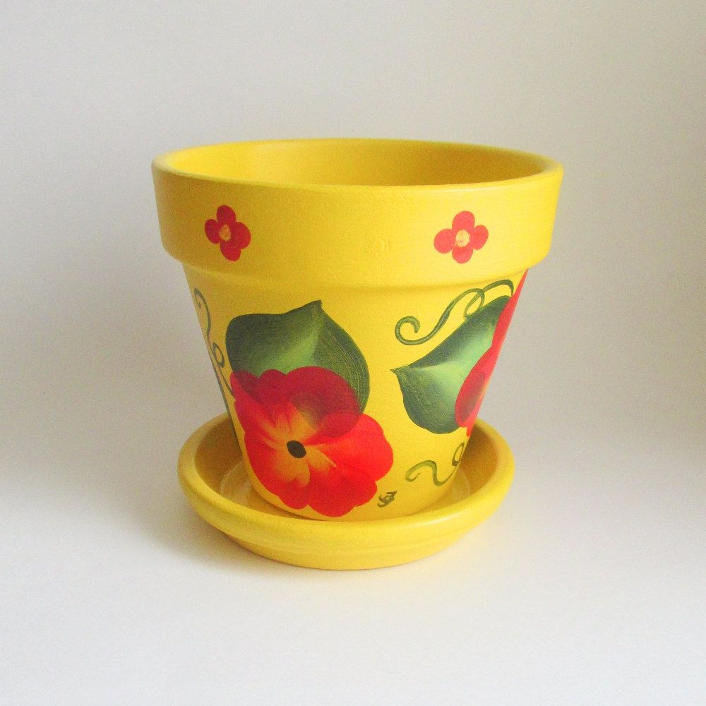 Yellow Mexican Design 6 Inch Planter With Red Flowers Hand Painted Terra Cotta Flow Painted Terra Cotta Flower Pots Terracotta Flower Pots Painted Flower Pots