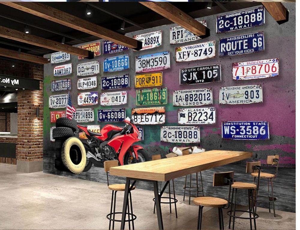Wall Mural Photo Wallpaper Retro Motorcycle License Plate Ktv Images, Photos, Reviews