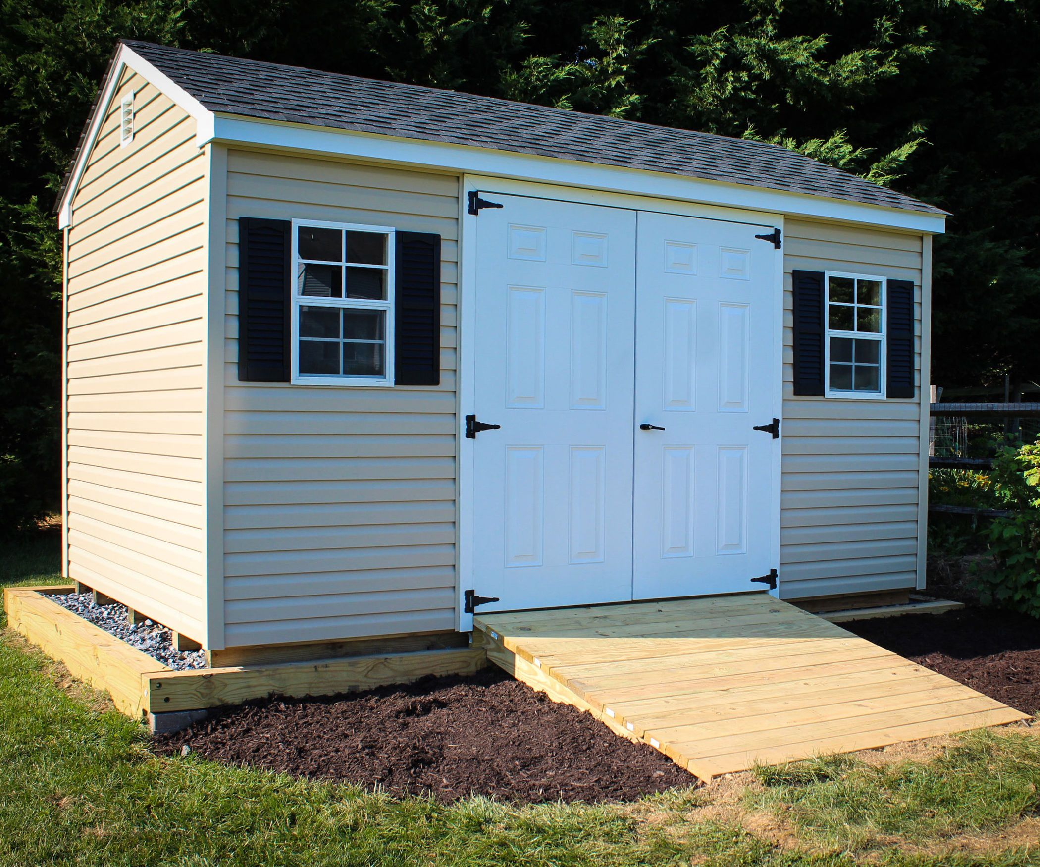Shed ramp garden equipment lawn and foundation for 2 storage house