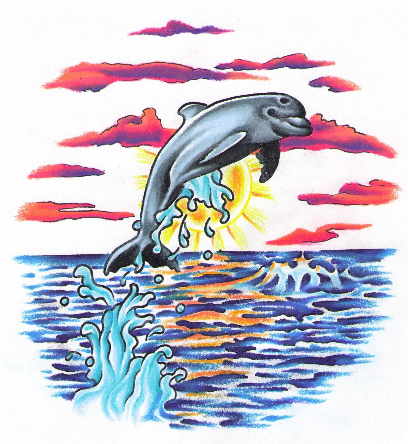 Pics photos dolphin tattoo design tattoos art and designs - Dolphin Tattoo Design Trina Mink Color Water Splash Peace Art Clouds Drawing