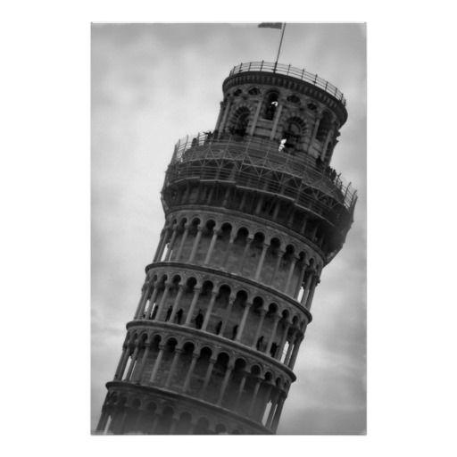 Black white leaning tower of pisa travel poster