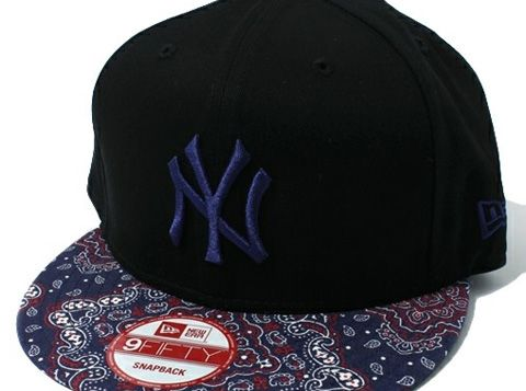 621ee7c9b4f All black with paisley bill and dark blue embroidery New york Yankees  fitted hat new era