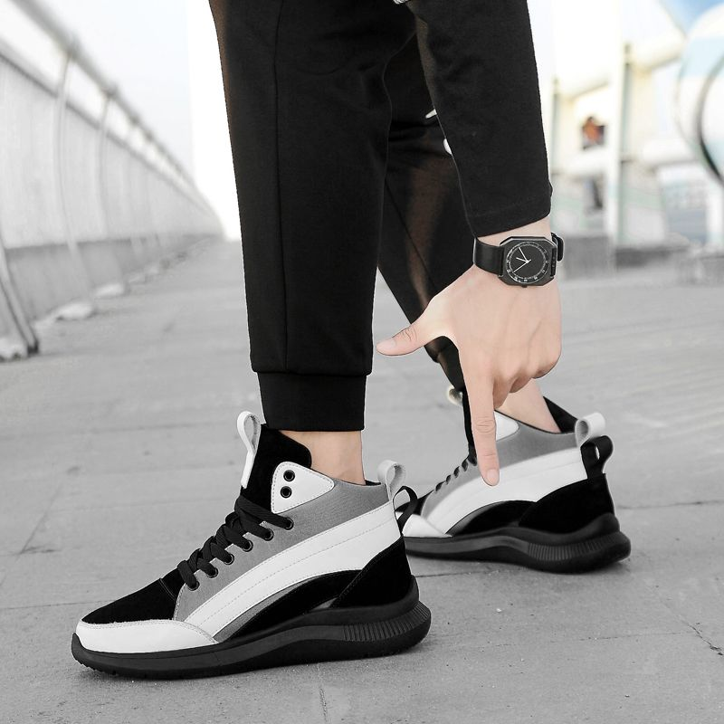 8c6ffbbdc7 Hidden Lift Plimsolls Shoes White High Top Fashion Sneakers Increase ...