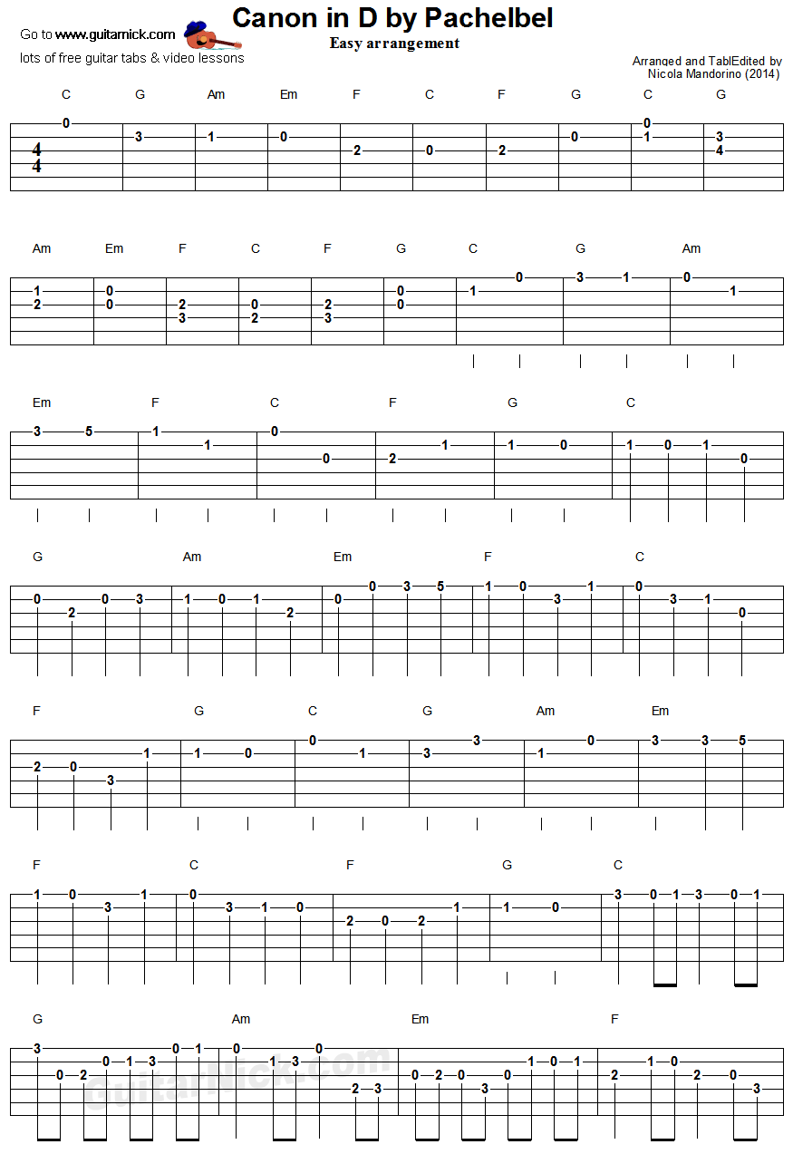 Canon in d by pachelbel easy guitar tablature 1 music guitar lesson with free tab sheet music chords and video tutorial canon in d by pachelbell easy for beginners hexwebz Choice Image