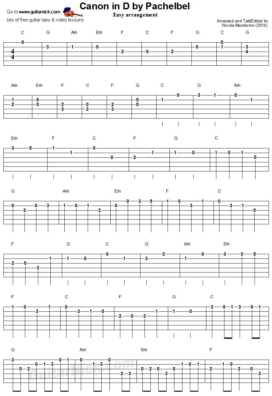 Canon in d by pachelbel easy guitar tablature 1 music canon in d by pachelbel easy guitar tablature 1 ukulele songsukulele chordseasy hexwebz Gallery