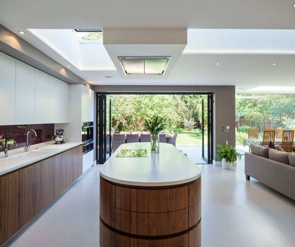 Oval Island Using White Countertop For Modern Kitchen Ideas With