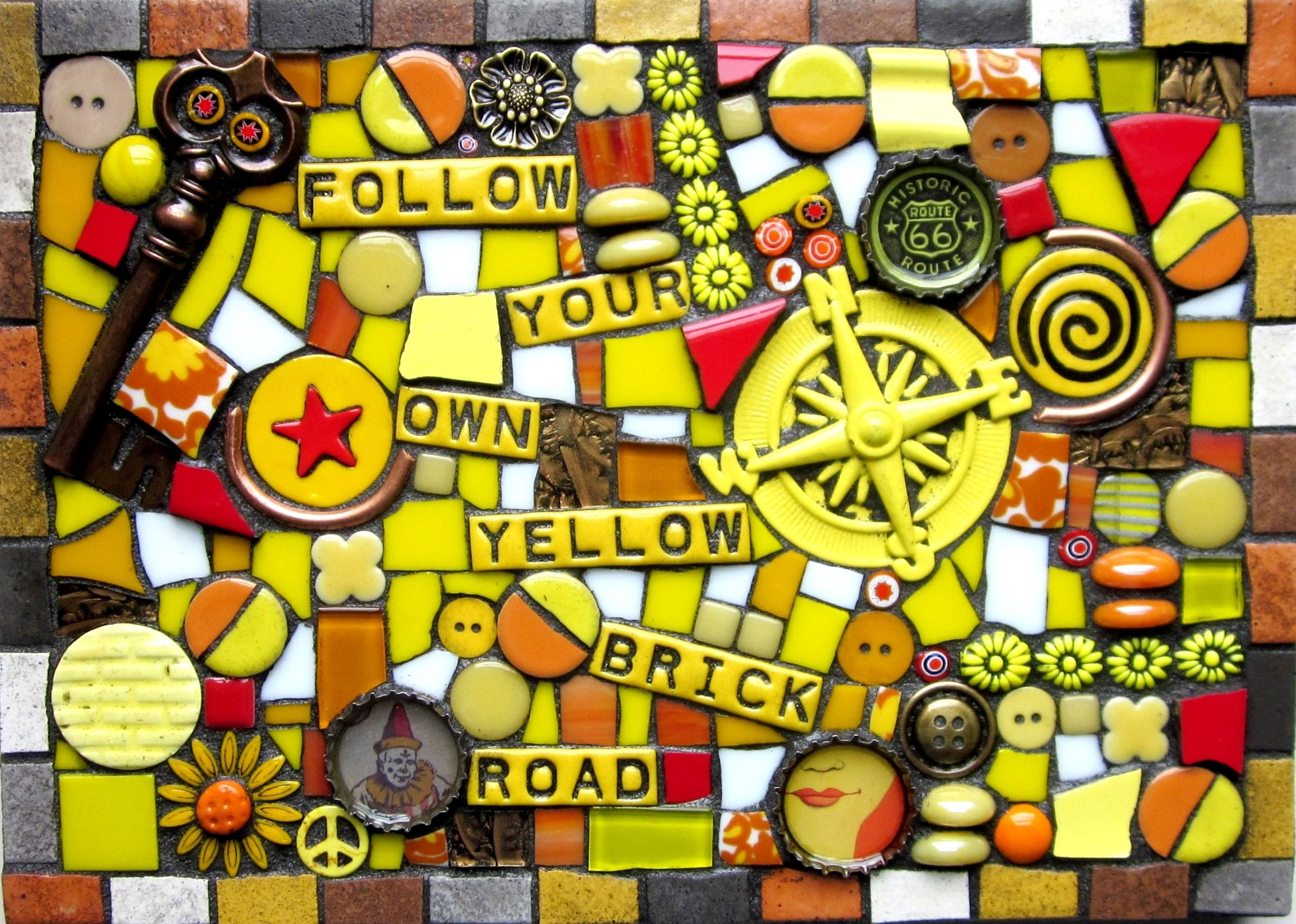 FOLLOW YOUR OWN YELLOW BRICK ROAD! wizard of oz mosaic mixed media ...