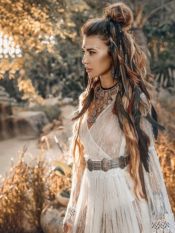 85 Stunning Bohemian Style Interior Design Ideas For Your: See-through Flared Sleeves V-back Maxi Dress In 2019