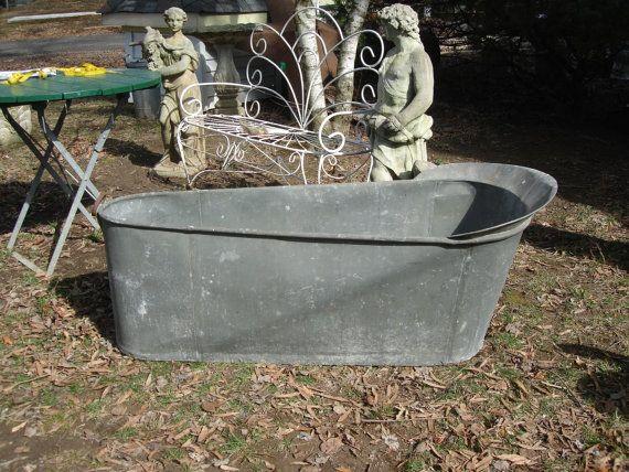 1800s french antique zinc bathtub tin bathtub by funknjunkinc my shop pinterest. Black Bedroom Furniture Sets. Home Design Ideas