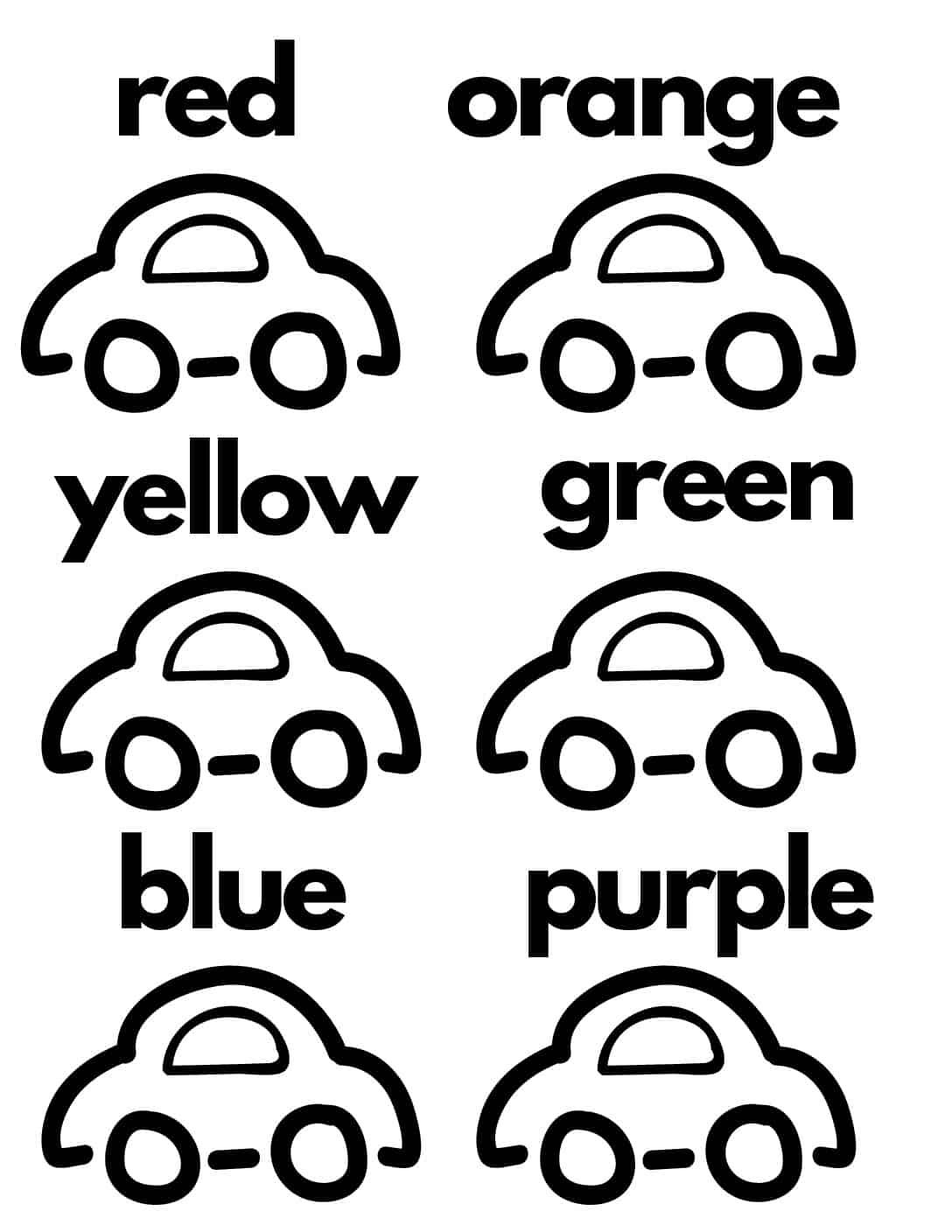 Free Car Color Practice Worksheet