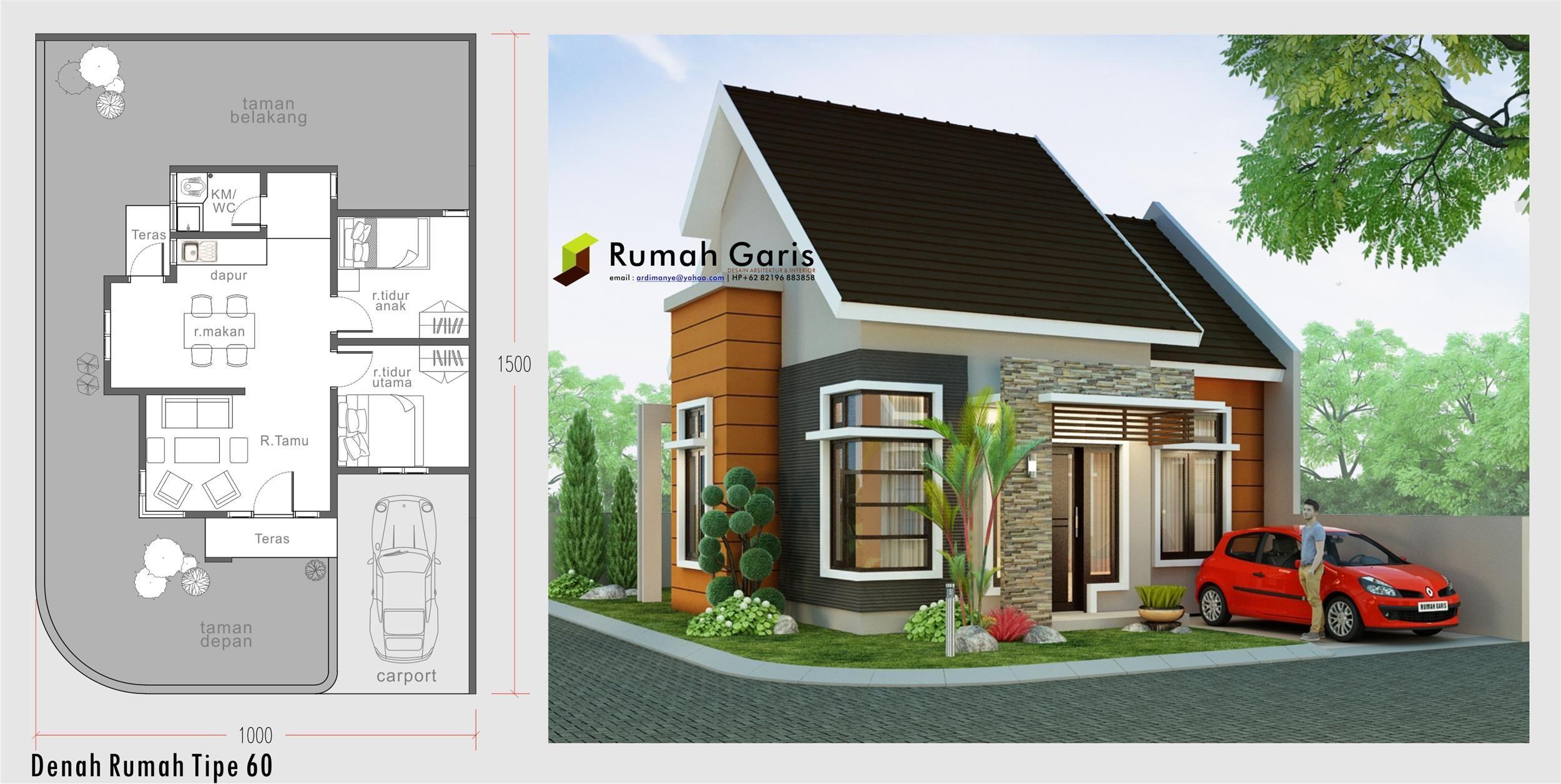 Denah Dan Tampak Rumah Minimalis Sudut Tipe 60 Di Lahan 10x15 M