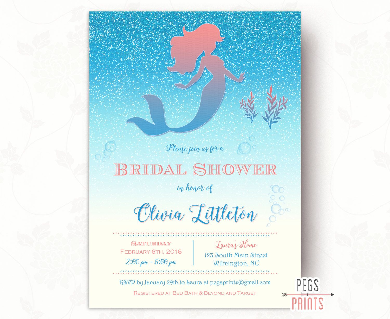 glitter mermaid bridal shower invitation printable under the sea bridal shower invitation fairytale bridal shower invitation coral by pegsprints on