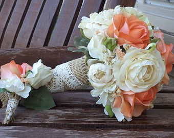 Coral Rose And Champagne Rustic Wedding Bouquet Silk Bridal Flowers Country Real Touch